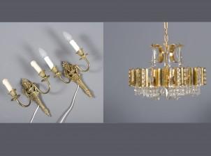Lampettipari ja kattokruunu