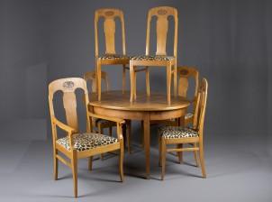 Pöytä ja tuoleja, 2+4