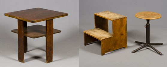 Jakkara, askelma ja pöytä