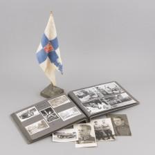 Sota-aikainen valokuva-albumi ja standaari (alikersantti S. Lindholm - Kenraali Ekbergin autonkuljettaja)