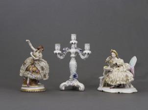 Figuriinejä, 2 kpl ja kandelaaberi