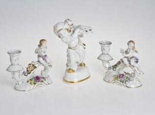 Figuriineja 2 kpl ja kynttilänjalka pari