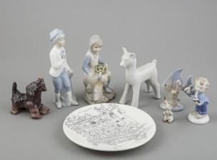 Figuriineja, 7 kpl ja lautanen