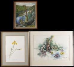 Vesivärejä, 2 kpl ja maalaus
