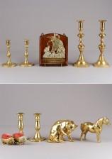 Kynttilänjalkoja, 3 paria, figuriinejä, 2 kpl, neulatyynypari ja kirjeteline