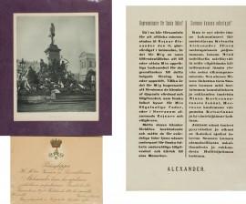 Painokuva, pääsylippu ja keisarin kiitoskirje kansalle