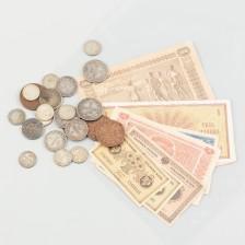 Erä seteleitä ja kolikoita