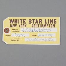 Ministeri A.H. Saastamoisen 1.lk lippu White Star Line'in Oceanic-laivaan