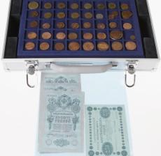 Erä suomalaisia ja ulkomaisia kolikoita ja seteleitä