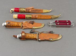 Puukkoja, 4 kpl ja veitsi