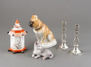Figuriineja, 3 kpl ja kynttilänjalkapari