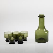 Pullo ja viinilaseja, 5 kpl