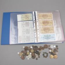 Erä sekalaisia kolikoita ja seteleitä